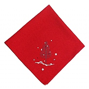 Peggy Wilkins Rivington Embroidered Red Christmas Woodland Napkin - Pack of 4