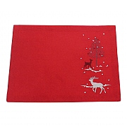 Peggy Wilkins Rivington Embroidered Red Christmas Woodland Placemat - Pack of 2