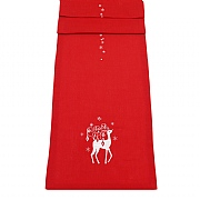 "Peggy Wilkins Rococo Embroidered Red Christmas Reindeer Table Runner 14""x75"""