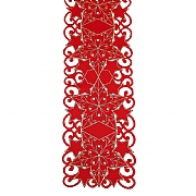 "Peggy Wilkins Starfall Red & Gold Narrow Christmas Table Runner 7.75""x63"""