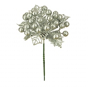 Floralsilk Silver Christmas Berry Pick