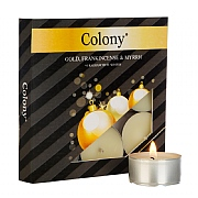 Colony Gold, Frankincense & Myrrh Tealights (Box of 9)