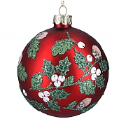 Gisela Graham Matt Red Glass Bauble with Leaves & White Berries