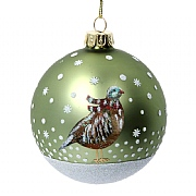 Gisela Graham Matt Green Glass Bauble with Partridge