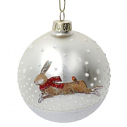 Gisela Graham Matt Gold Glass Bauble with Hare