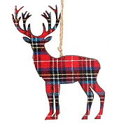Gisela Graham Tartan Fabric Wooden Stag