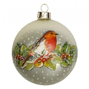 Gisela Graham Matt White Glass Bauble with Robin & Fruit