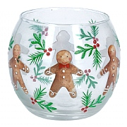 Gisela Graham Gingerbread Men Glass Tealight Holder
