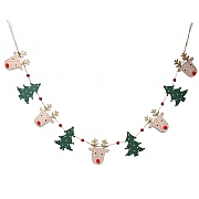 Gisela Graham Wood Deer Head & Trees String Garland