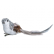 Gisela Graham White & Silver Natural Feather Bird Clip
