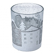 Gisela Graham Large Silver & White Houses Glass Tealight Holder