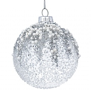 Gisela Graham Crushed Clear Glass Bauble with Silver Glitter Pearls