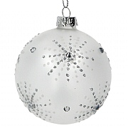 Gisela Graham Opaque Bauble with Silver Diamante Starburst