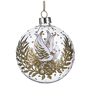 Gisela Graham Clear Glass Bauble with White & Gold Dove