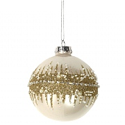 Gisela Graham Lacquered Cream Glass Bauble with Gold Glitter Band