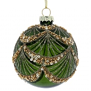 Gisela Graham Clear Green Glass Bauble with Gold Sequin Swags