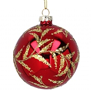 Gisela Graham Lacquered Red Glass Bauble with Gold Glitter Leaves