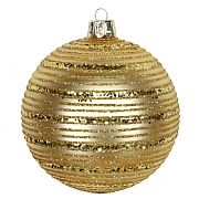 Gisela Graham Matt Gold Glass Bauble with Gold Glitter Astral