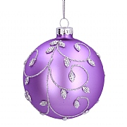 Gisela Graham Matt Lilac Glass Bauble with Silver Beaded Vine