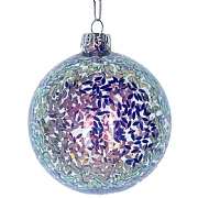 Gisela Graham Clear Glass Bauble with Lilac & Pink Sequins Inside