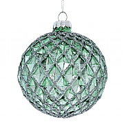 Gisela Graham Pale Green Dimpled Harlequin Bauble with Silver Glitter
