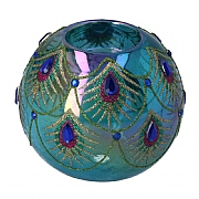 Gisela Graham Glass Peacock Design Tealight Holder