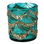 Gisela Graham Small Turquoise Glass Tealight Holder with Gold Sequin Swags