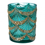 Gisela Graham Large Turquoise Glass Tealight Holder with Gold Sequin Swags