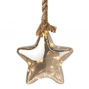 Warm White Micro LED Glass Star with Rope 20cm