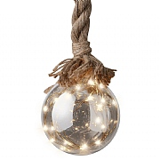 Warm White Micro LED Glass Rope Ball 14cm