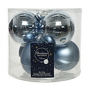 Decoris Winter Sky 80mm Glass Baubles (Pack of 6)