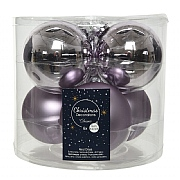 Decoris Lilac 80mm Glass Baubles (Pack of 6)
