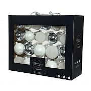 Decoris Box of 42 White & Blue Assorted Baubles