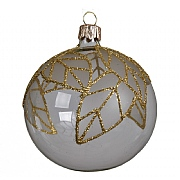 Decoris Champagne with Gold Glitter Leaves 80mm Glass Bauble