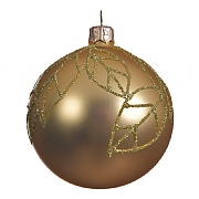 Decoris Light Gold with Leaves 80mm Glass Bauble
