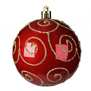 Decoris Red Shiny with Swirl 80mm Bauble