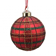Decoris Christmas Red Checked Glitter 80mm Glass Bauble