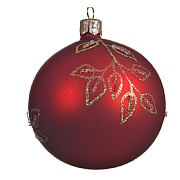 Decoris Christmas Red with Branches 80mm Glass Bauble