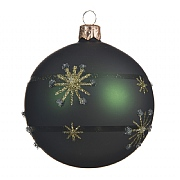 Decoris Pine Green with Snowflakes 80mm Glass Bauble