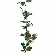 Decoris Green & Red Holly Berry Garland 170cm