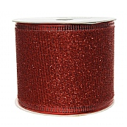 Decoris Red Ribbon Mesh with Glitter 2.7m