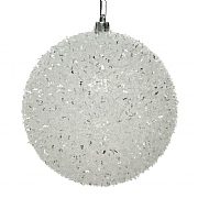 Decoris White with Glitter 100mm Bauble