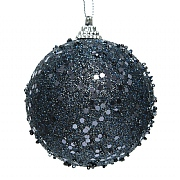 Decoris Night Blue 80mm Foam Bauble with Glitter