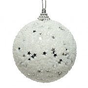 Decoris White 80mm Foam Bauble with Beads and Stars