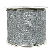Decoris Silver Ribbon Mesh with Glitter 2.7cm
