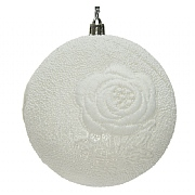 Decoris White 100mm Bauble with Lace