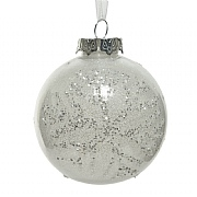 Decoris White 100mm Bauble with Snowflake