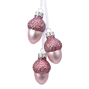 Decoris Pink Glass Acorn Bundle Hanging Decoration