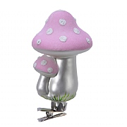 Decoris Blush Pink Mushrooms Flock on Clip