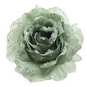 Decoris Sage Green Rose with Glitter on Clip
